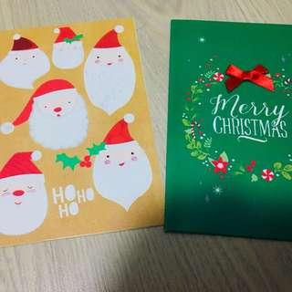 Christmas Card Set Santa Claus HOHOHO Merry Christmas