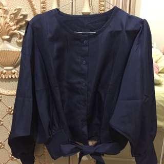 Navy tie blouse