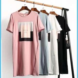 Short Sleeves Loose T-shirt Dress 韩版女装体恤裙加长款套头短袖