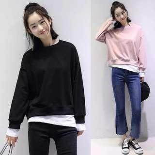 Long Sleeves Loose Top Fake 2 Pieces 韩版休闲女装纯棉假两件圆领套头卫衣长袖