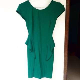 Zara Green Peplum Cocktail Party Dress