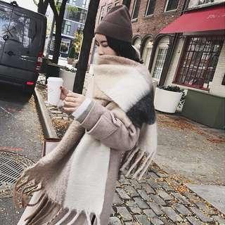 Dec.iwhere 大格子拼色厚款圍巾