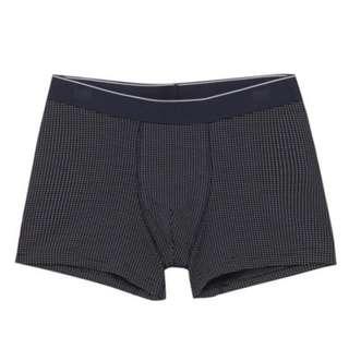 MUJI / 男-有機棉混彈性拳擊內褲深藍紋樣L