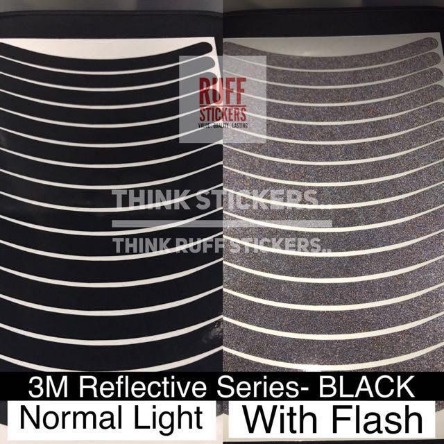 3M Reflective Sticker Series - BLACK for 10 Inch Wheel Rims