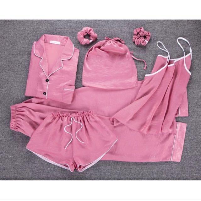 7件組睡衣 桃紅色