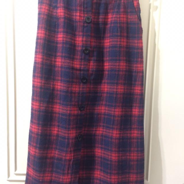 韓版排扣紅色格紋裙