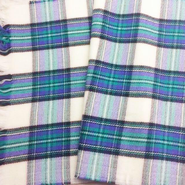 全新!藍綠格紋毛料圍巾