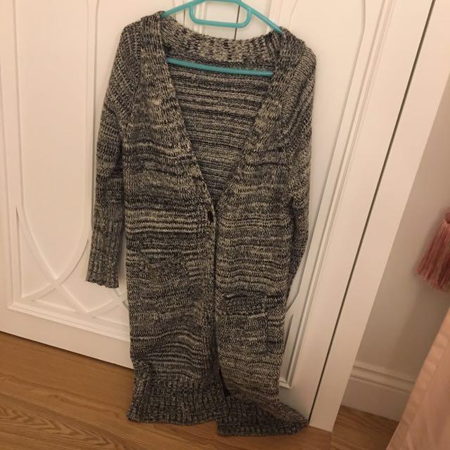 混色針織長版外套