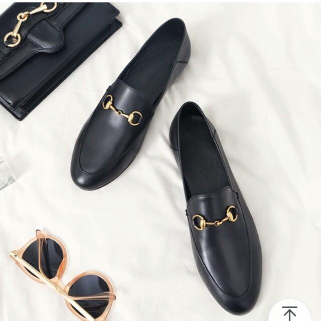 歐美金環黑色平底鞋