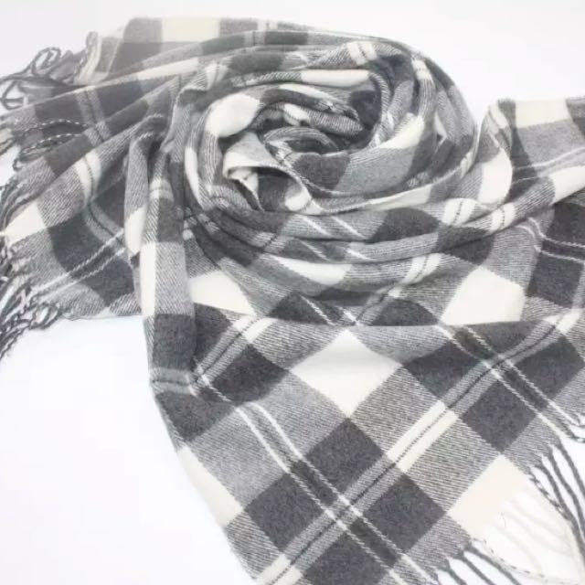 全新!日本專櫃格紋厚毛料圍巾