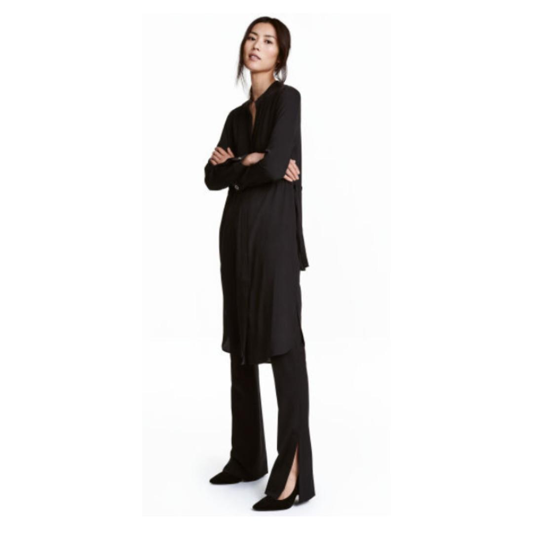 美國購回 尾牙跨年必備 H&M黑色襯衫收腰腰身連身洋裝長洋裝 名模劉雯款