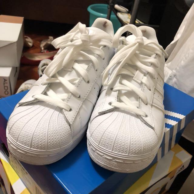 All white Adidas superstar