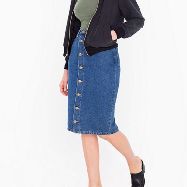 American Apparel Midi Jeans Skirt