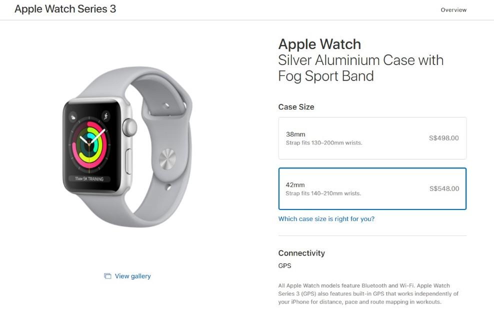 low priced b4cd4 830c5 Apple Watch Series 3 42mm Silver Aluminum Fog Sport Band