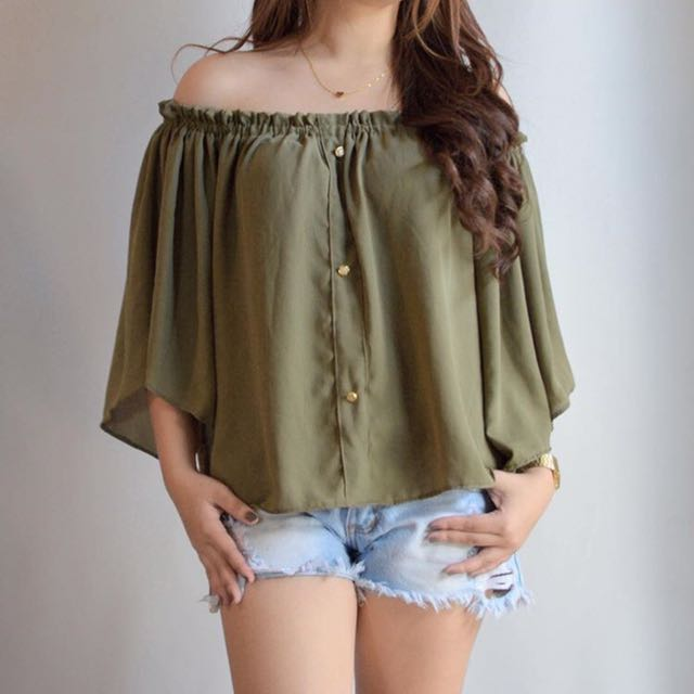 Army green off shoulder top by HTP