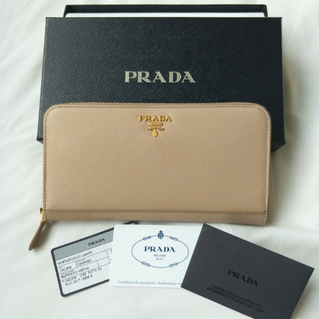 1d66d1291317 Authentic Prada 1ML506 Saffiano Leather Zip Around Long Wallet ...
