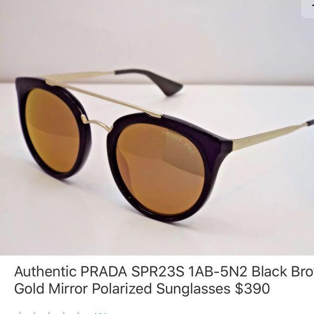 Authentic Prada POLARIZED sunglasses black and gold wire frame
