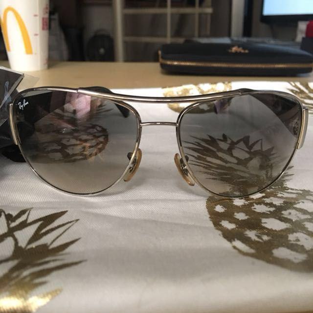 Authentic Ray Ban Aviators Silver frame and black lens