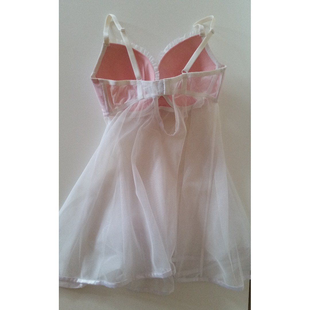 Baby Pink & White Lingerie Night Dress FREE POSTAGE