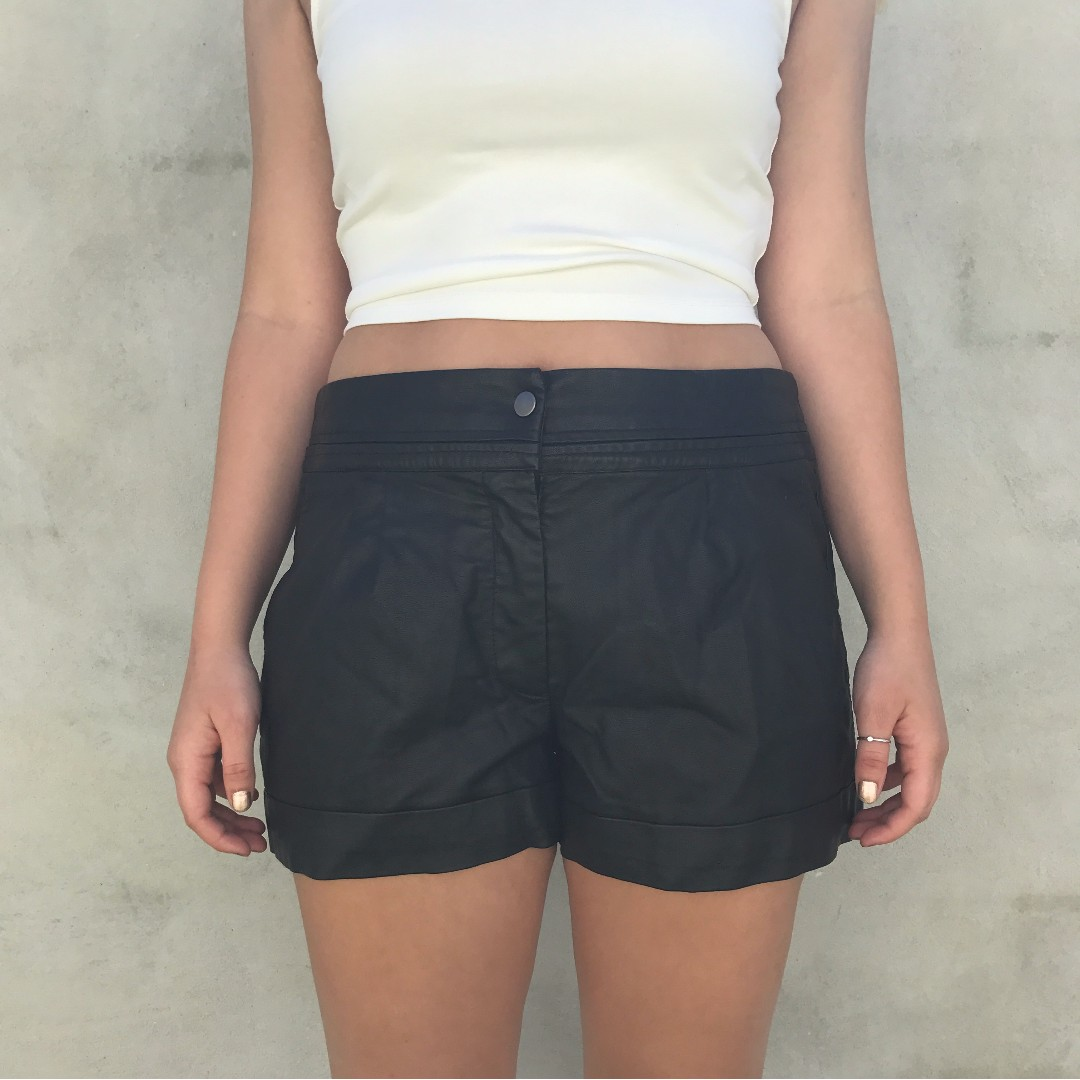 "Black ""leather"" shorts - never worn"