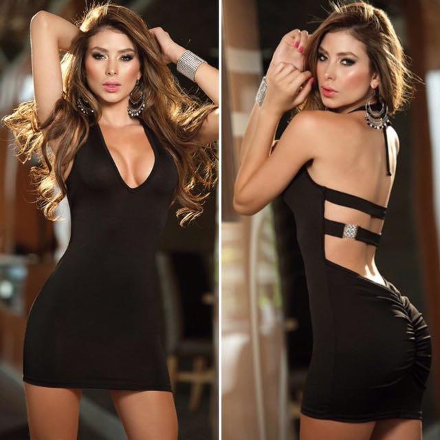 Black Lingerie Halter Neck Dress with Bling