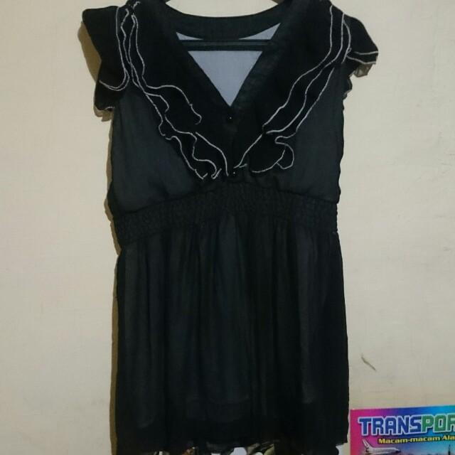 #Barteryuk Black Ruffle Mini Dress