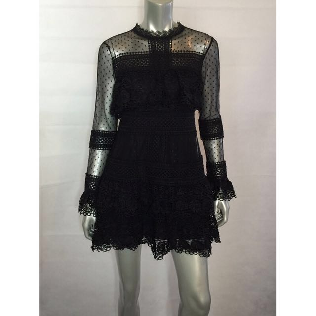Black Spot Sheer Mesh Lace Mini Dress/Self Portrait