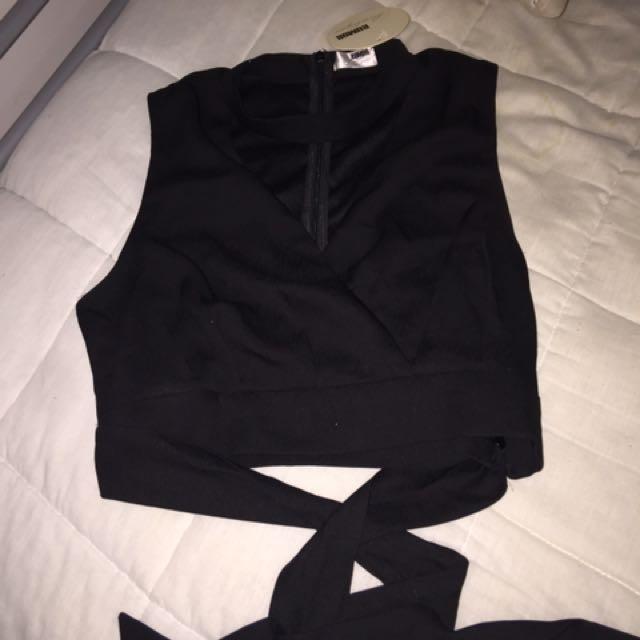 black wrapped crop top
