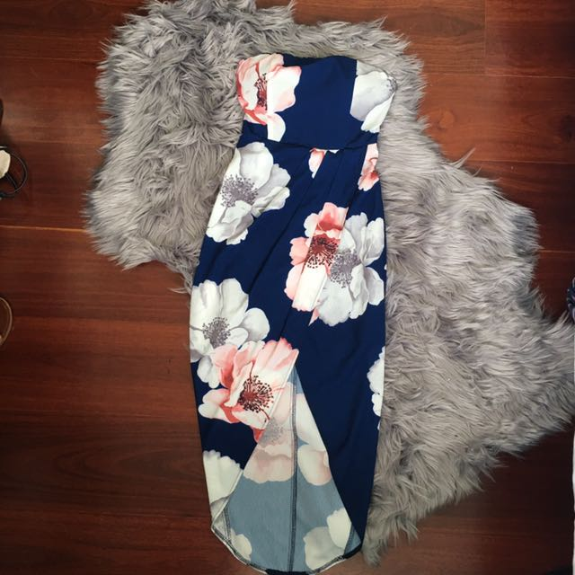 Blossom Navy Floral Strapless Maxi Dress Size 6