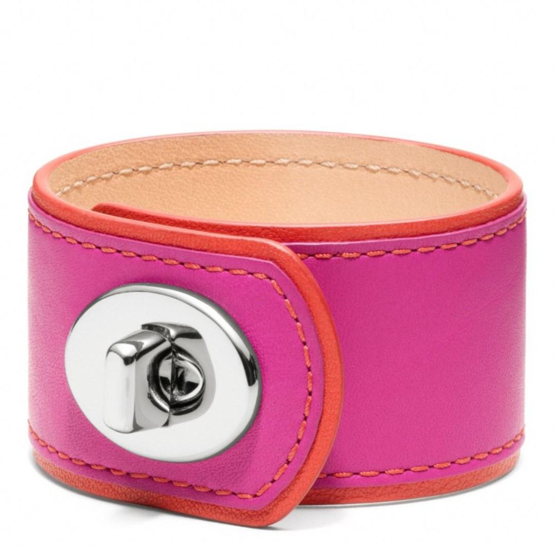 COACH Medium Leather Turnlock Bracelet Cuff - Pink