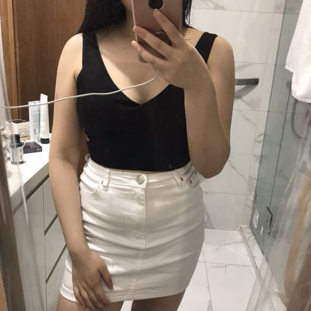Cropped black top with side cut outs clubbing