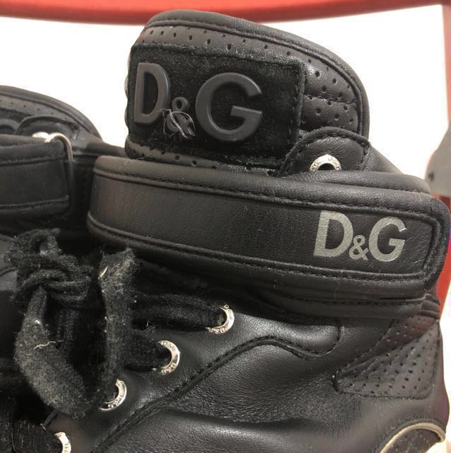 D&G PERFORATED CALF HIGH TOP SNEAKERS Size 42 Euro UK 8.5