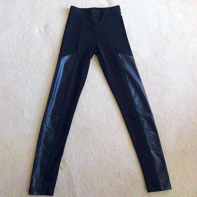 FACTORIE | LEATHER PANEL SKINNY PANTS - XS
