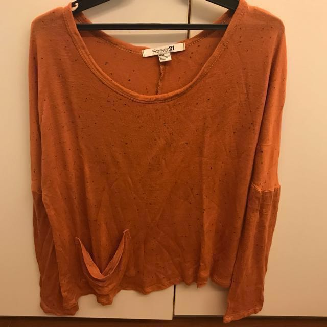 Forever 21 Rust Long Sleeved Semi-Cropped Knit Top