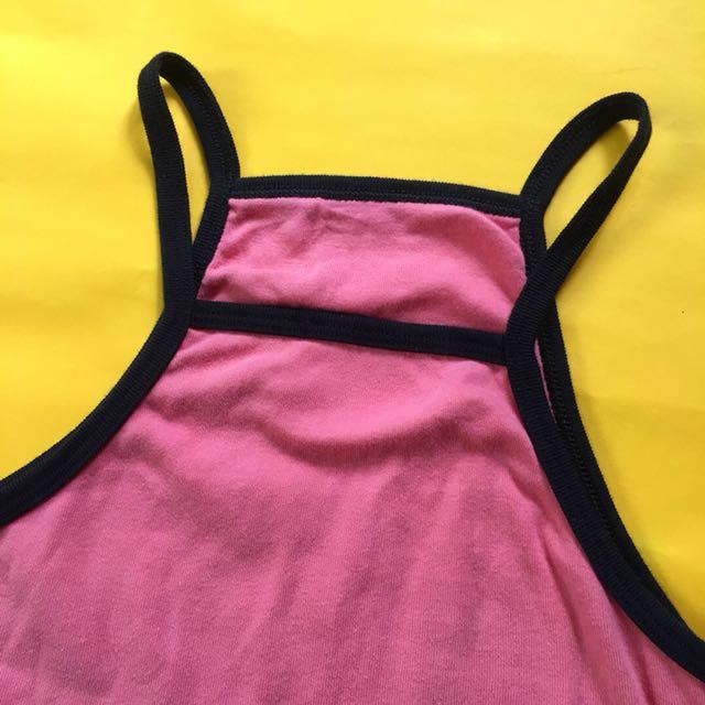 Halter crop top pink