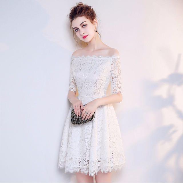 Mid Sleeve Prom Dress
