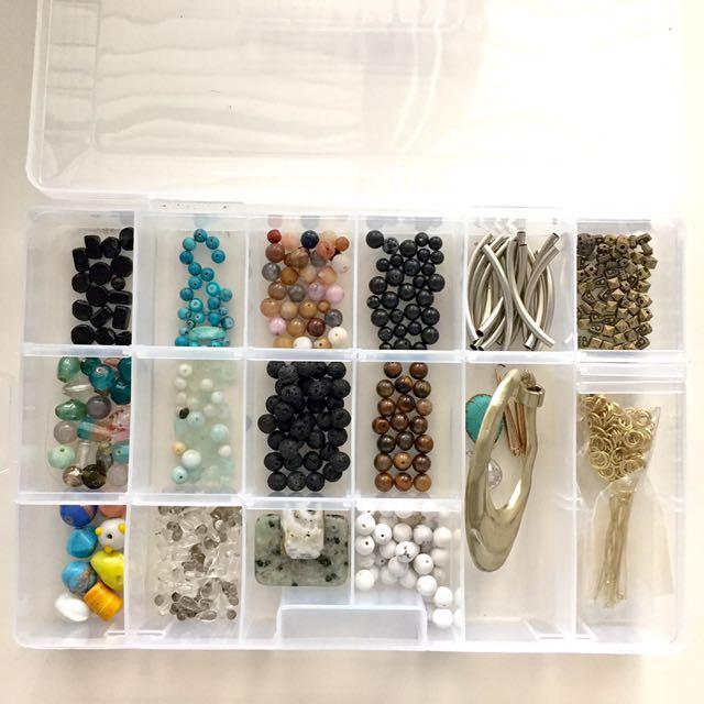 Jewelry Making Kit Bead Lot + Organizer