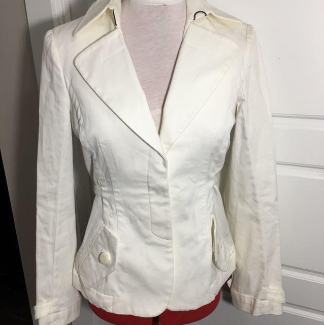 Just Cavalli jacket size 40 small-medium white cream long sleeve blazer