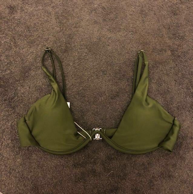 Khaki wire bikini top low cleavage