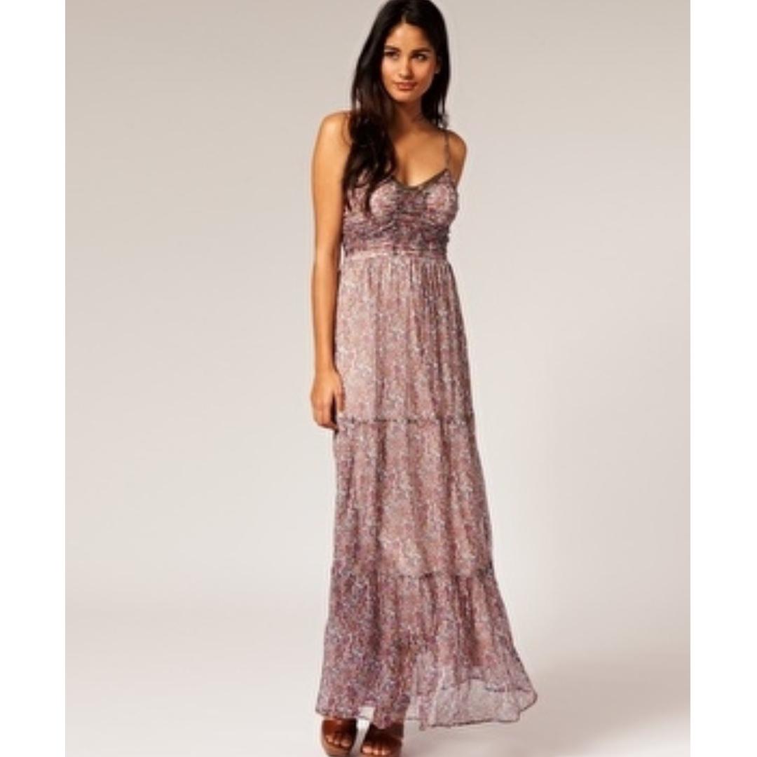 Kookai Silk Ditsy Tiered Maxi Dress