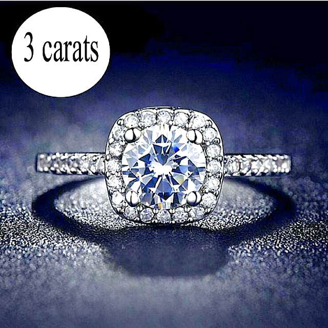 Ladies Size 6 AAA+ Quality 3 CTW Cubic Zirconia with 18K White Gold Filled Ring NEW