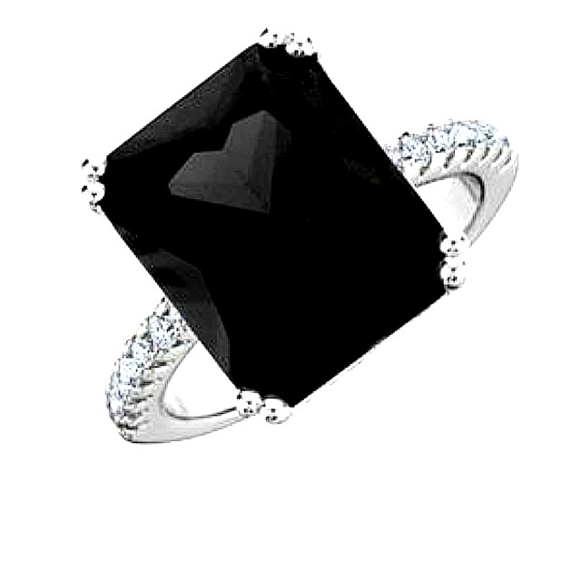 Ladies Size 8 Ring Black Gemstone with CZ Accents in Plated in 18K White Gold NEW