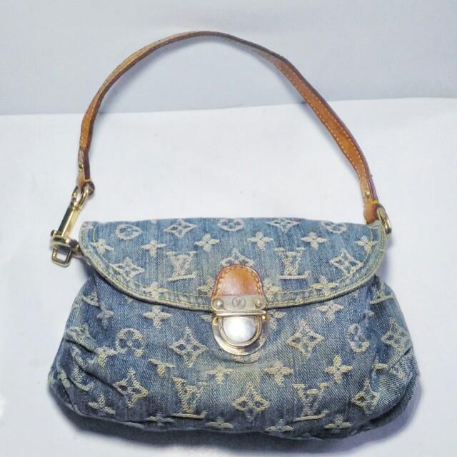 LOUIS VUITTON Blue Denim Monogram Denim Mini Pleaty Bag