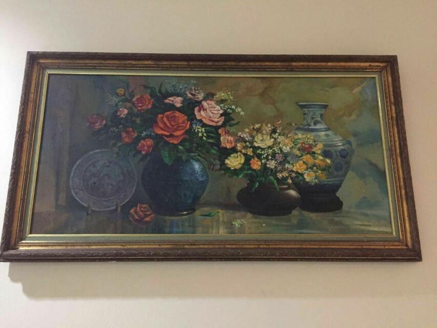 Lukisan pot bunga vertikal