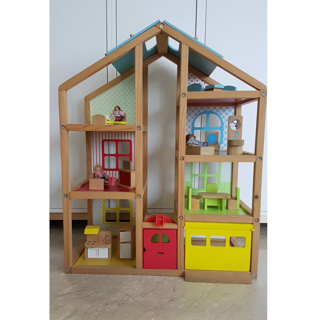 Melissa Doug Wooden Doll House And Furniture Set Babies Kids