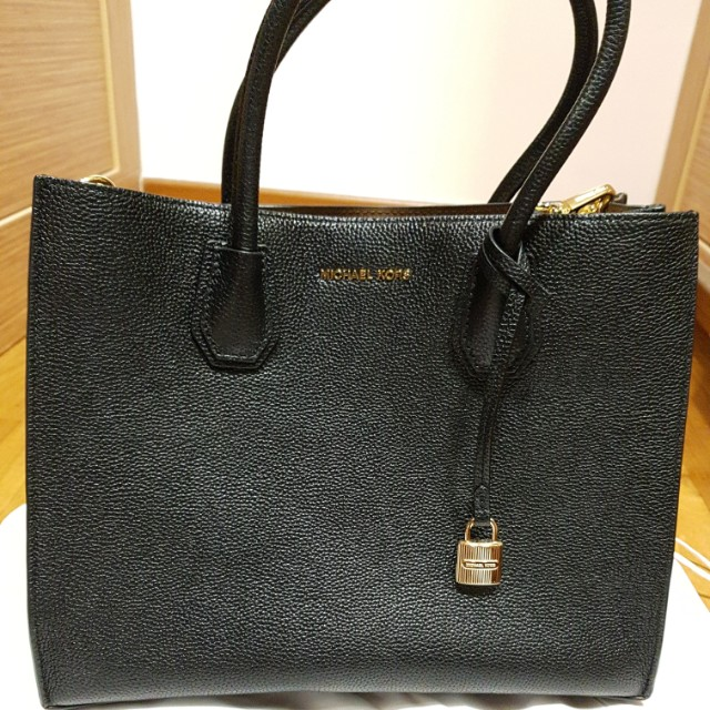 a8634acff344 Michael Kors Mercer Large Leather Tote (Black), Luxury, Bags ...