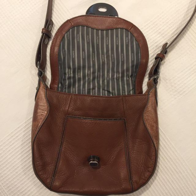 Mimco Brown Leather Shoulder Bag