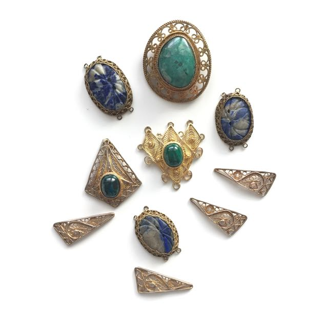 Mix Lot Vintage Brass & Gemstone Jewelry Findings