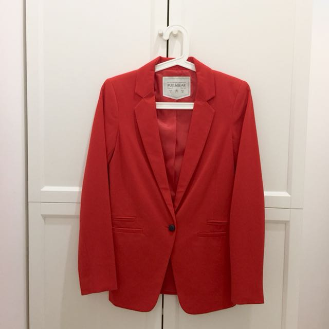 Pull & Bear Red Blazer Cardigan Jacket Jas Wanita