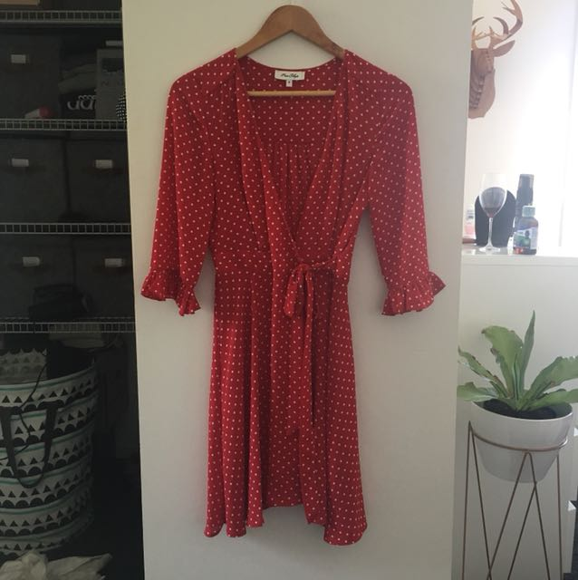 Red and white spot wrap dress
